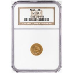 1855 Type 2 $1 Indian Princess Head Gold Dollar Coin NGC AU53