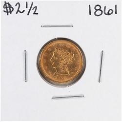 1861 $2 1/2 Liberty Head Quarter Eagle Gold Coin