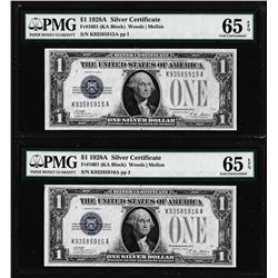 (2) Consecutive 1928A $1 Funnyback Silver Certificate Notes Fr.1601 PMG Gem Uncirculated 65EPQ