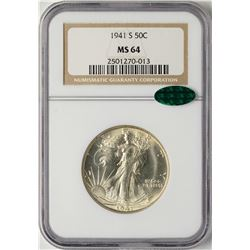 1941-S Walking Liberty Half Dollar Coin NGC MS64 CAC