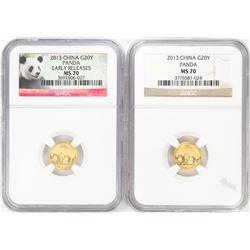 Lot of (2) 2013 China 20 Yuan Panda Gold Coins NGC MS70