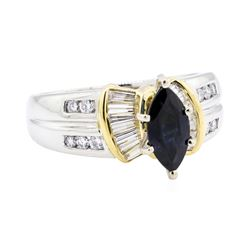 Platinum and 18KT Yellow Gold 1.95 ctw Sapphire and Diamond Ring