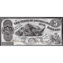 1862 $5 The State of Louisiana Baton Rouge Obsolete Note