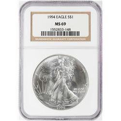 1994 $1 American Silver Eagle Coin NGC MS69