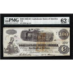 1862 $100 Confederate States of America Note T-40 PMG Choice Uncirculated 62EPQ