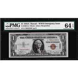 1935A $1 Hawaii WWII Emergency Silver Certificate Note PMG Choice Uncirculated 64EPQ