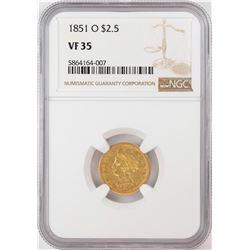 1851-O $2 1/2 Liberty Head Quarter Eagle Gold Coin NGC VF35