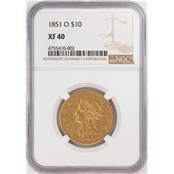 1851-O $10 Liberty Head Eagle Gold Coin NGC XF40