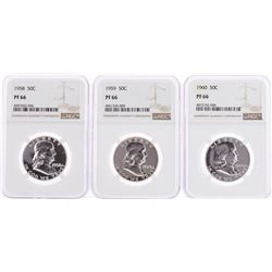 Lot of 1958-1960 Proof Franklin Half Dollar Coins NGC PF66