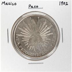 1902 Mexico Peso Silver Coin