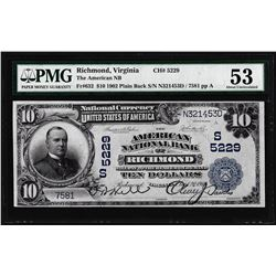 1902 PB $10 Richmond, VA CH# 5229 National Currency Note PMG About Uncirculated 53