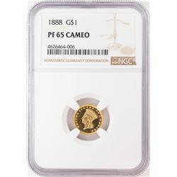 1888 $1 Proof Indian Princess Head Gold Dollar Coin NGC PF65 Cameo