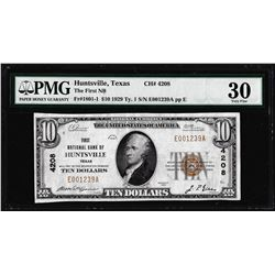 1929 $10 First NB Huntsville, Texas National Currency Note CH#4208 PMG Very Fine 30