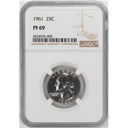 1961 Proof Washington Quarter Coin NGC PF69