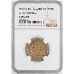 AH451-492 Ghaznavid Dinar A-1637 Ibrahim Gold Coin NGC Genuine