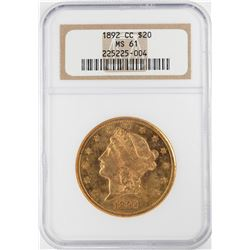 1892-CC $20 Liberty Head Double Eagle Gold Coin NGC MS61