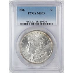 1886 $1 Morgan Silver Dollar Coin PCGS MS63