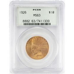 1926 $10 Indian Head Eagle Gold Coin PCGS MS63