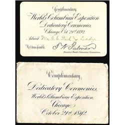 October 21, 1892 World's Columbian Exposition Dedicated Ceremonies Envelope & Ticket