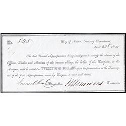 April 23, 1841 $25 City of Austin Treasury Department Warrant Note