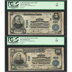 1902PB $5/10 First NB of Washington, PA CH# 586 National Currency Notes PCGS Fine 15