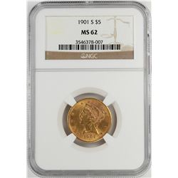 1901-S $5 Liberty Head Half Eagle Gold Coin NGC MS62