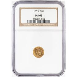 1853 Type 1 $1 Liberty Head Gold Dollar Coin NGC MS62