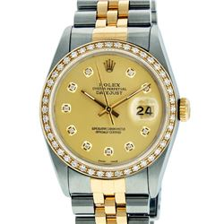 Rolex Mens Two Tone 14K Champagne Diamond 36MM Datejust Wriswatch