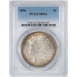 1896 $1 Morgan Silver Dollar Coin PCGS MS63 Nice Toning