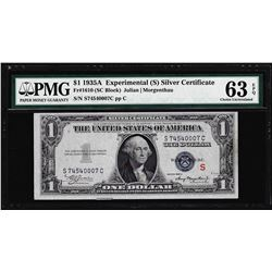 "1935A $1 ""S"" Experimental Silver Certificate Note Fr.1610 PMG Ch. Uncirculated 63EPQ"