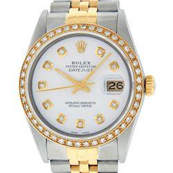 Rolex Men's Two Tone 14K White Diamond 36MM Datejust Wristwatch