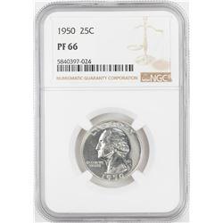 1950 Proof Washington Quarter Coin NGC PF66