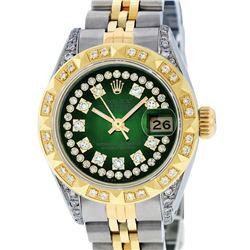 Rolex Ladies Two Tone 14K Green Vignette Diamond Lugs Pyramid 26MM Datejust Wristwatch
