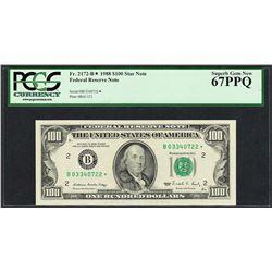 1988 $100 Federal Reserve STAR Note New York Fr.2172-B* PCGS Superb Gem New 67PPQ