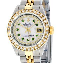 Rolex Ladies Two Tone 14K MOP Emerald String Diamond Datejust Wristwatch