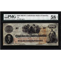 1862 $100 Confederate States of America Note T-41 PMG Choice About Uncirculated 58EPQ