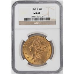 1891-S $20 Liberty Head Double Eagle Gold Coin NGC MS61
