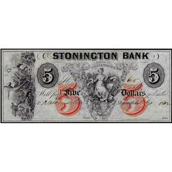 1862 $5 The Stonington Bank Connecticut Obsolete Bank Note