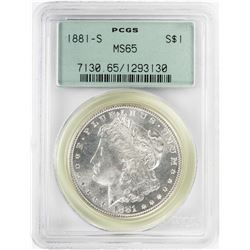 1881-S $1 Morgan Silver Dollar Coin PCGS MS65 Old Green Holder