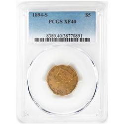 1894-S $5 Liberty Head Half Eagle Gold Coin PCGS XF40