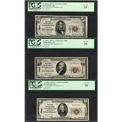 1929 $5/10/20 Citizens NB Washington, PA CH# 3383 National Currency Notes PCGS VF25