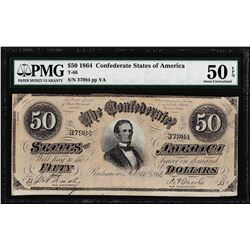 1864 $50 Confederate States of America Note T-66 PMG About Uncirculated 50EPQ