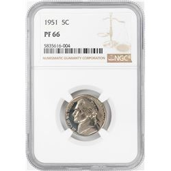 1951 Proof Jefferson Nickel Coin NGC PF66