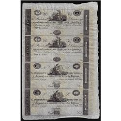 Uncut Sheet of 1800's $5/5/10/10 Farmer's & Merchants Bank of Baltimore Obsolete Notes