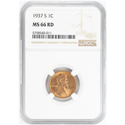 1937-S Lincoln Wheat Cent Coin NGC MS66RD