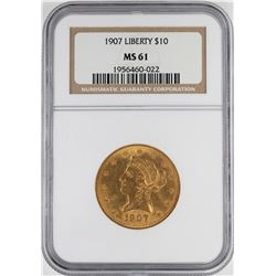 1907 $10 Liberty Head Eagle Gold Coin NGC MS61