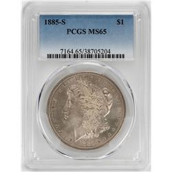 1885-S $1 Morgan Silver Dollar Coin PCGS MS65