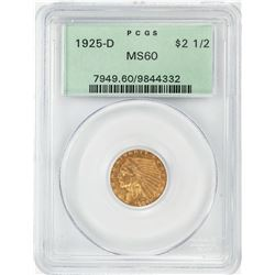 1925-D $2 1/2 Indian Head Quarter Eagle Gold Coin PCGS MS60 Old Green Holder