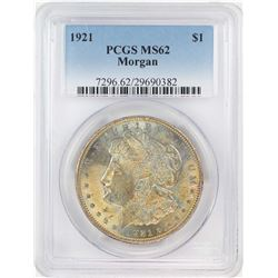 1921 $1 Morgan Silver Dollar Coin PCGS MS62 Nice Toning