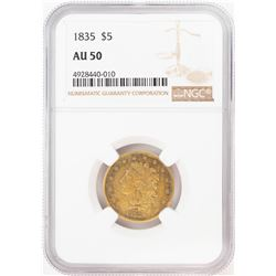 1835 $5 Classic Head Half Eagle Gold Coin NGC AU50